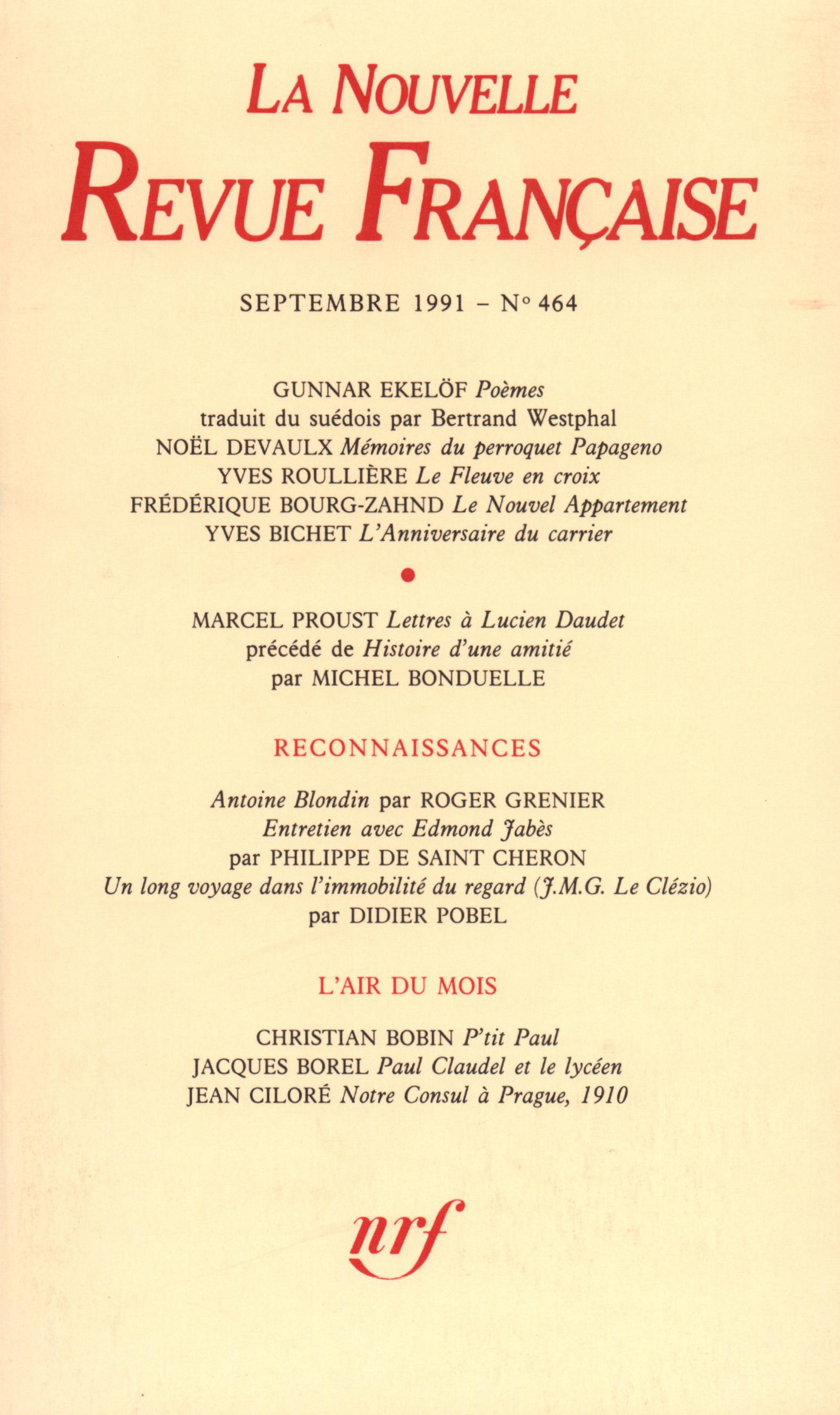 La Nouvelle Revue Française N° 464