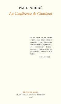 La Conférence de Charleroi | Nougé, Paul (1895-1967). Auteur