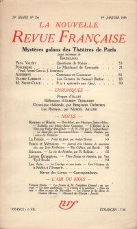 La Nouvelle Revue Française N° 256 (Janvier 1935)