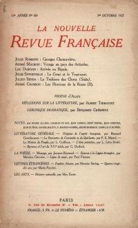 La Nouvelle Revue Française N' 169 (Octobre 1927)