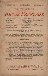 La Nouvelle Revue Française N' 132 (Septembre 1924)