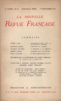 La Nouvelle Revue Française N' 72 (Septembre 1919)