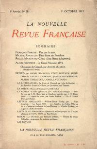 La Nouvelle Revue Française N' 58 (Octobre 1913)
