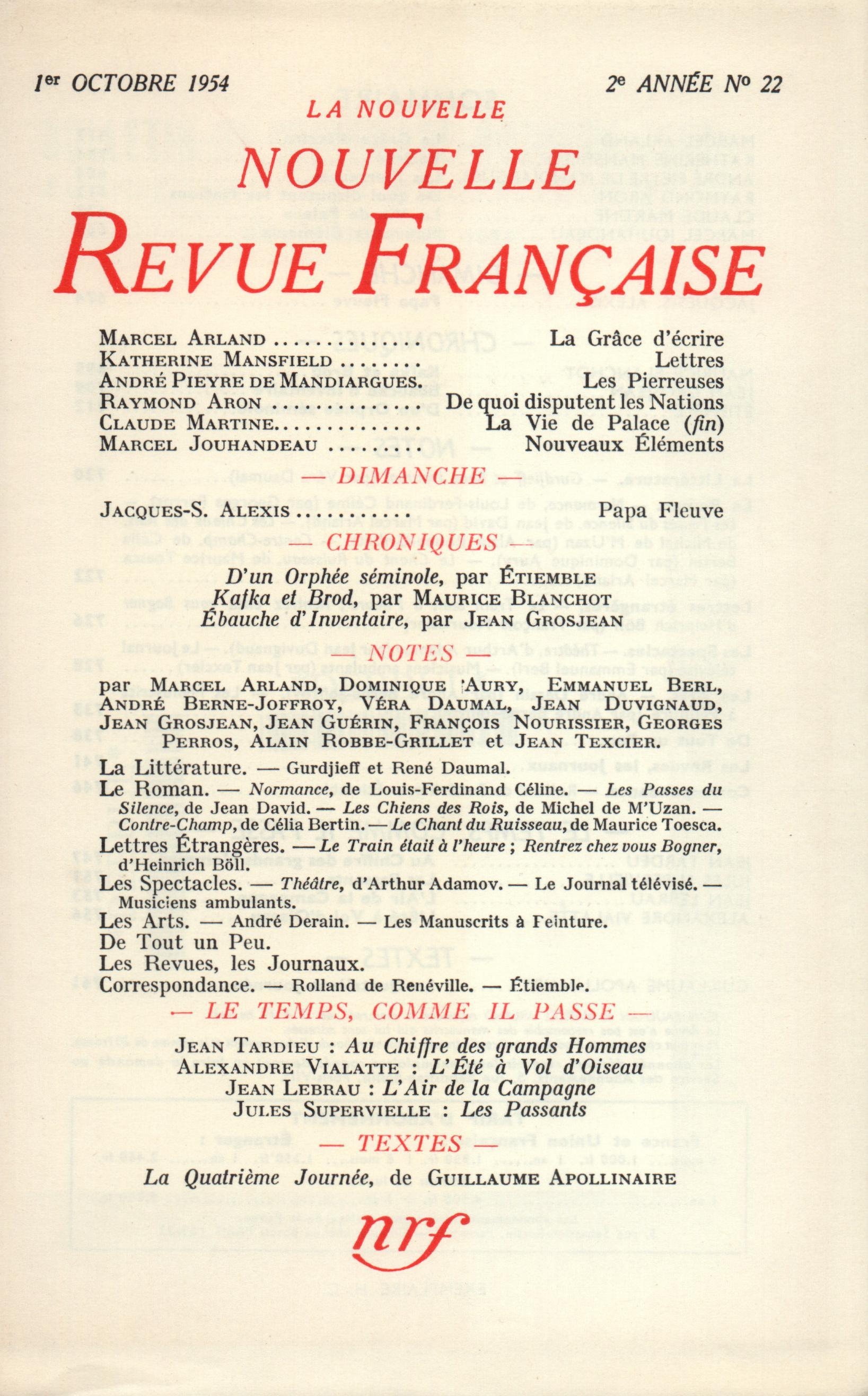 La Nouvelle Nouvelle Revue Française N' 22 (Octobre 1954)