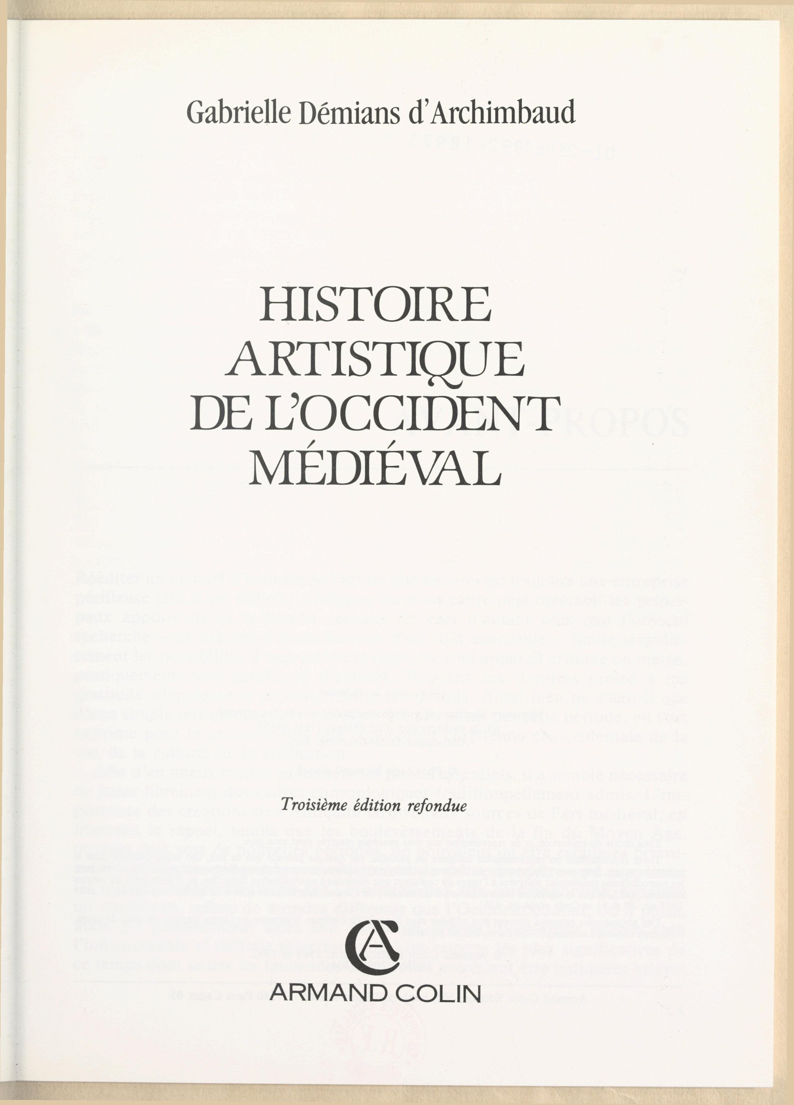 Histoire artistique de l'Oc...