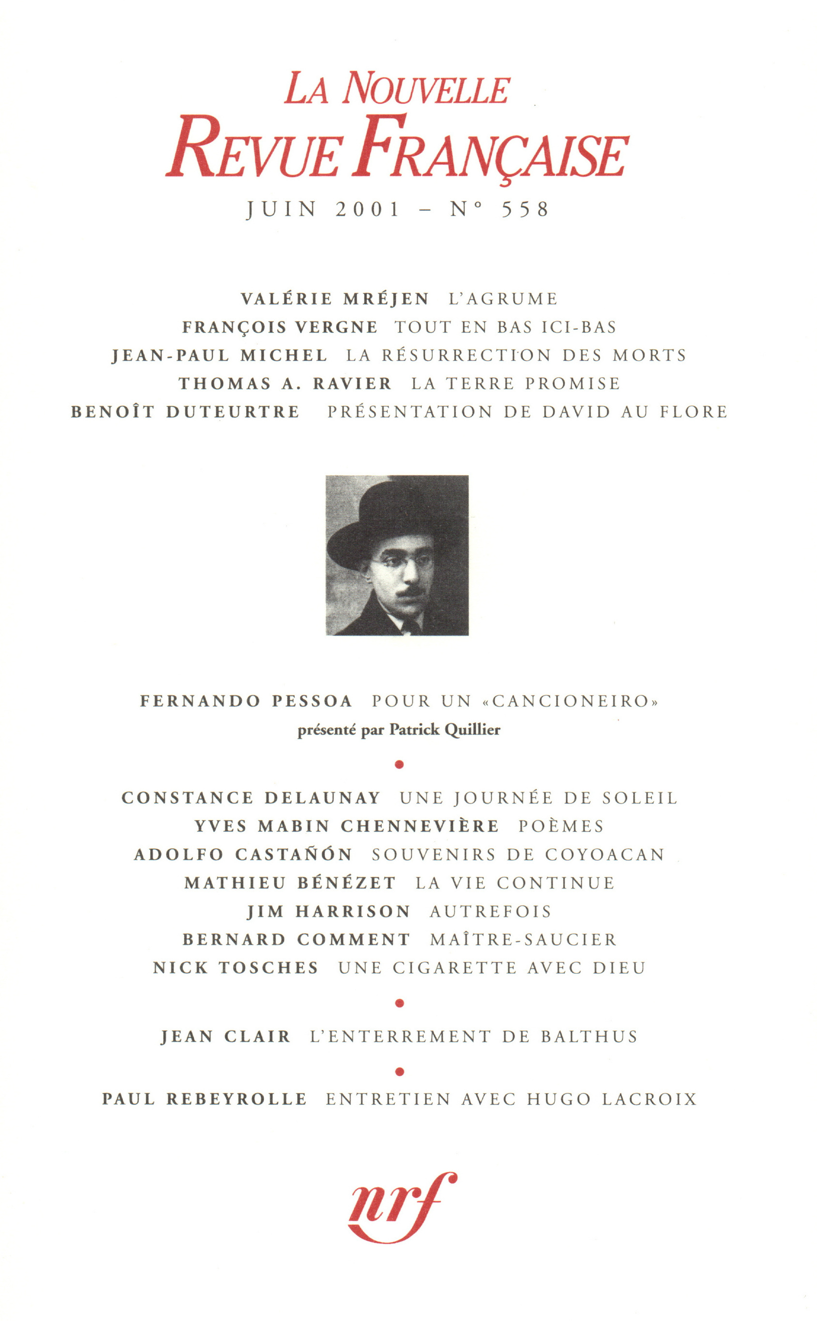 La Nouvelle Revue Française N° 558