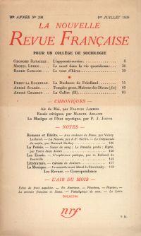 La Nouvelle Revue Française N° 298 (Juillet 1938)