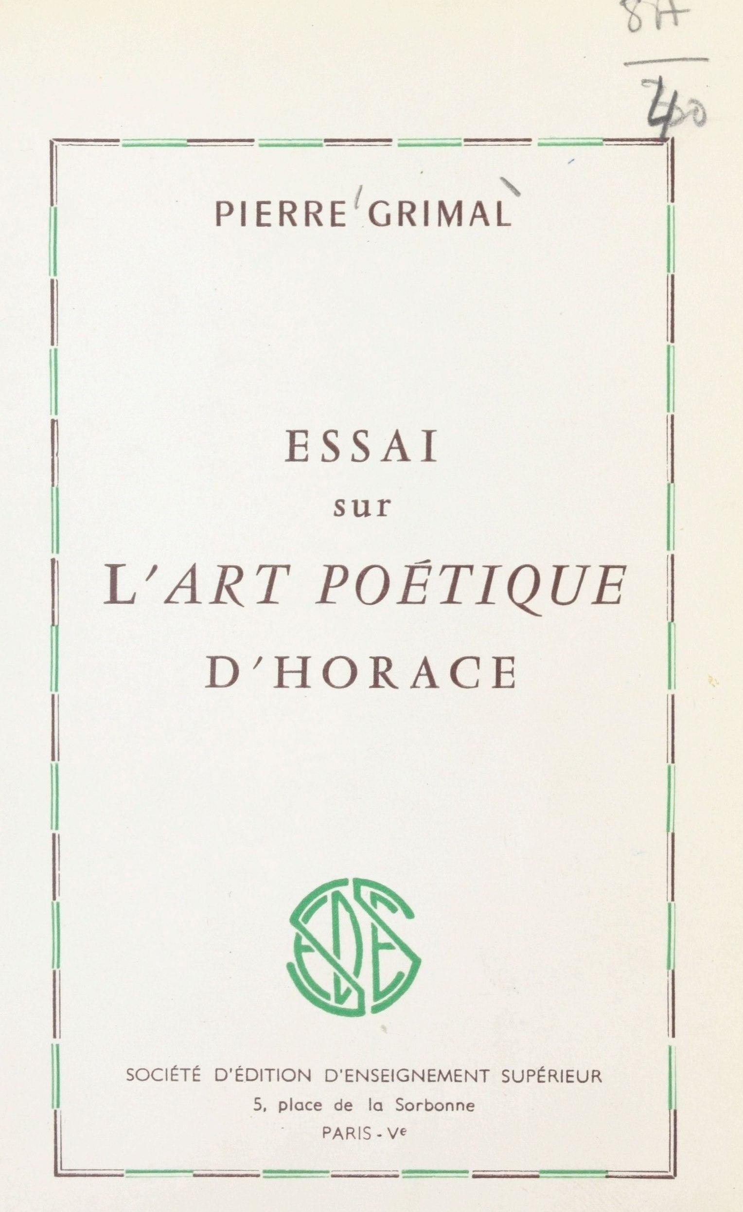 Essai sur l'art poétique d'Horace