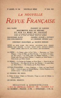 La Nouvelle Revue Française N' 104 (Mai 1922)