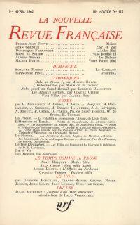 La Nouvelle Revue Française N' 112 (Avril 1962)