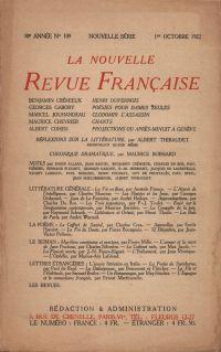 La Nouvelle Revue Française N' 109 (Octobre 1922)