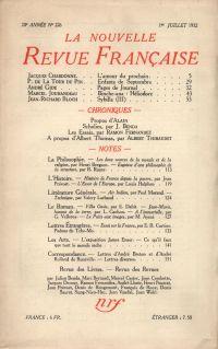 La Nouvelle Revue Française N° 226 (Juillet 1932)