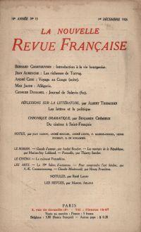 La Nouvelle Revue Française N' 159 (Décembre 1926)