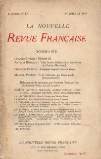 La Nouvelle Revue Française N' 67 (Juillet 1914)