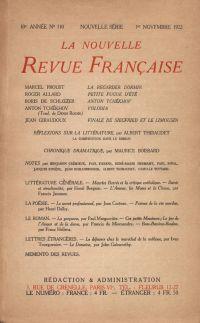 La Nouvelle Revue Française N' 110 (Novembre 1922)