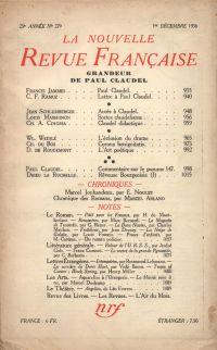 La Nouvelle Revue Française N° 279 (Décembre 1936)