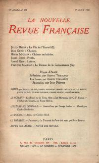 La Nouvelle Revue Française N' 179 (Aoűt 1928)
