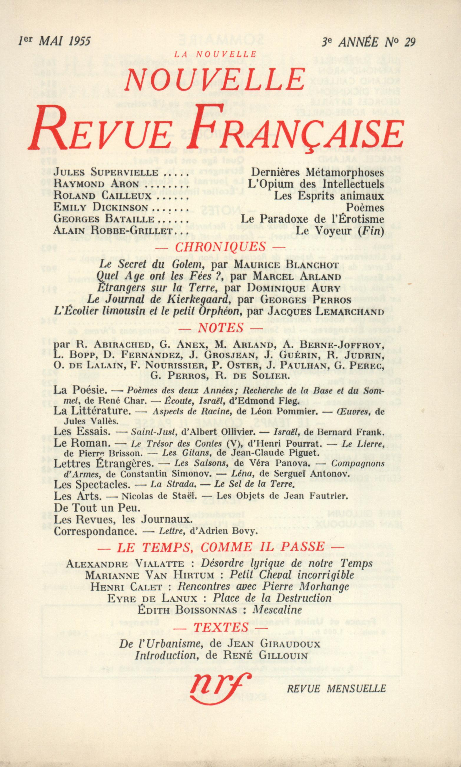 La Nouvelle Nouvelle Revue Française N' 29 (Mai 1955)