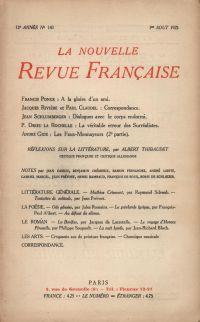 La Nouvelle Revue Française N' 143 (Aoűt 1925)