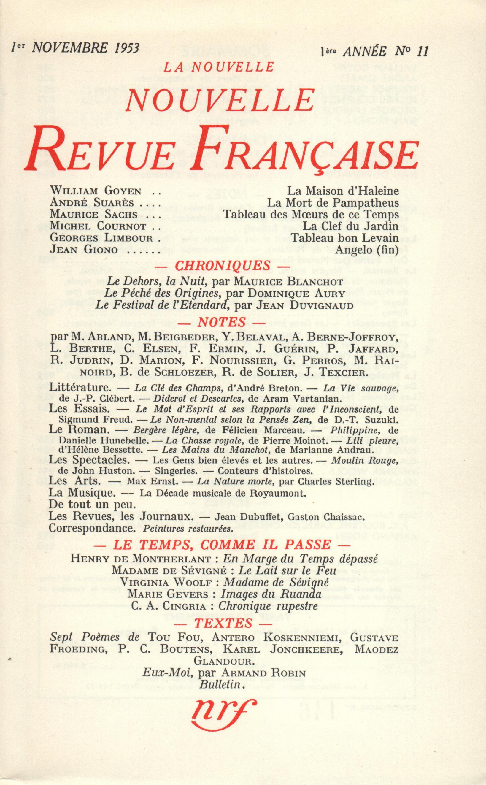 La Nouvelle Nouvelle Revue Française N' 11 (Novembre 1953)