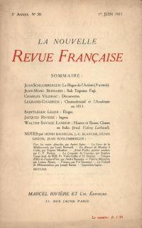 La Nouvelle Revue Française N' 30 (Juin 1911)