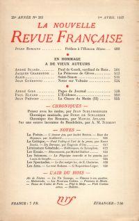 La Nouvelle Revue Française N° 283 (Avril 1937)