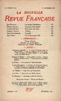 La Nouvelle Revue Française N' 192 (Septembre 1929)