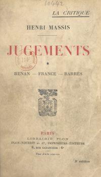 Jugements (1). Renan, Franc...