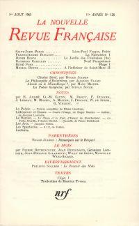 La Nouvelle Revue Française N' 128 (Aoűt 1963)