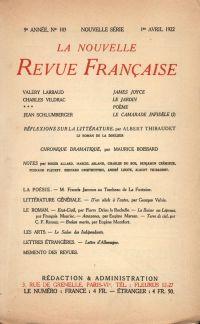 La Nouvelle Revue Française N' 103 (Avril 1922)