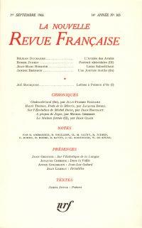 La Nouvelle Revue Française N' 165 (Septembre 1966)