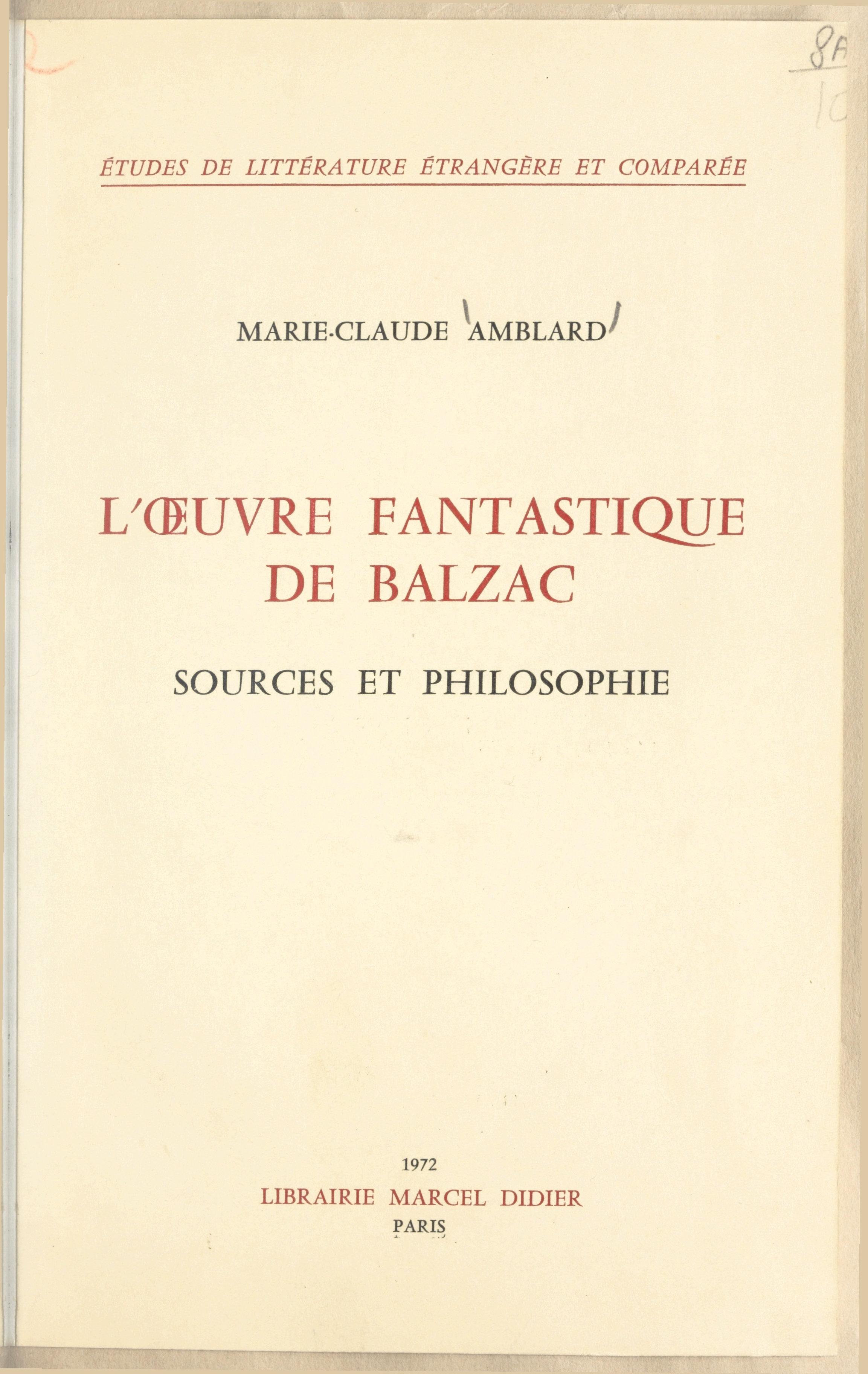 L'œuvre fantastique de Balzac