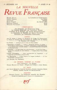La Nouvelle Revue Française N' 84 (Décembre 1959)