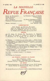 La Nouvelle Revue Française N' 100 (Avril 1961)