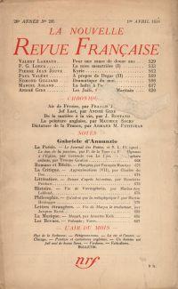 La Nouvelle Revue Française N° 295 (Avril 1938)