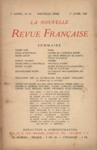 La Nouvelle Revue Française N' 79 (Avril 1920)
