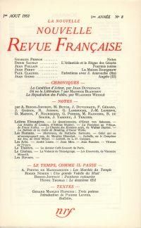 La Nouvelle Nouvelle Revue Française N' 8 (Aoűt 1953)