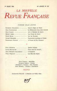 La Nouvelle Revue Française N' 183 (Mars 1968)