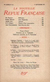 La Nouvelle Revue Française N' 216 (Septembre 1931)