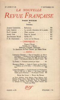 La Nouvelle Revue Française N° 228 (Septembre 1932)