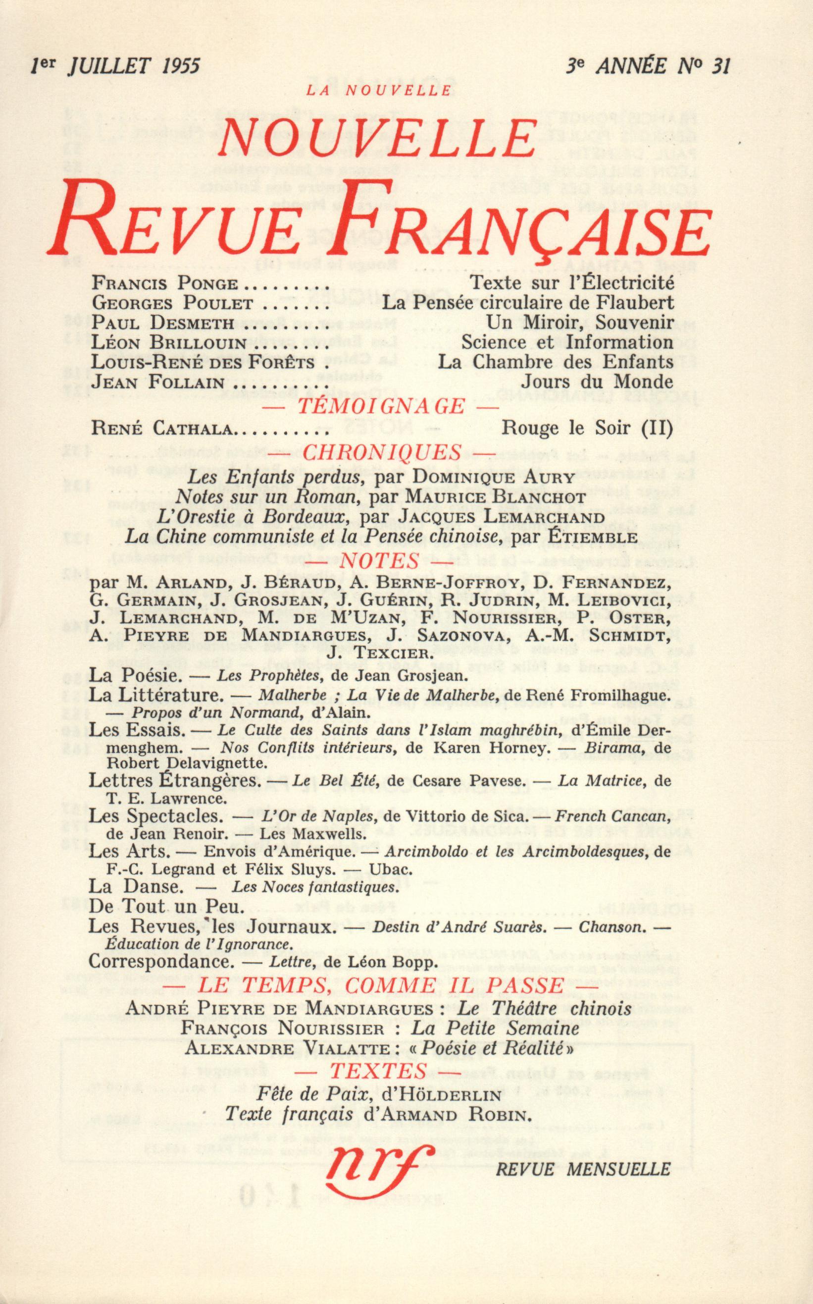La Nouvelle Nouvelle Revue Française N' 31 (Juillet 1955)