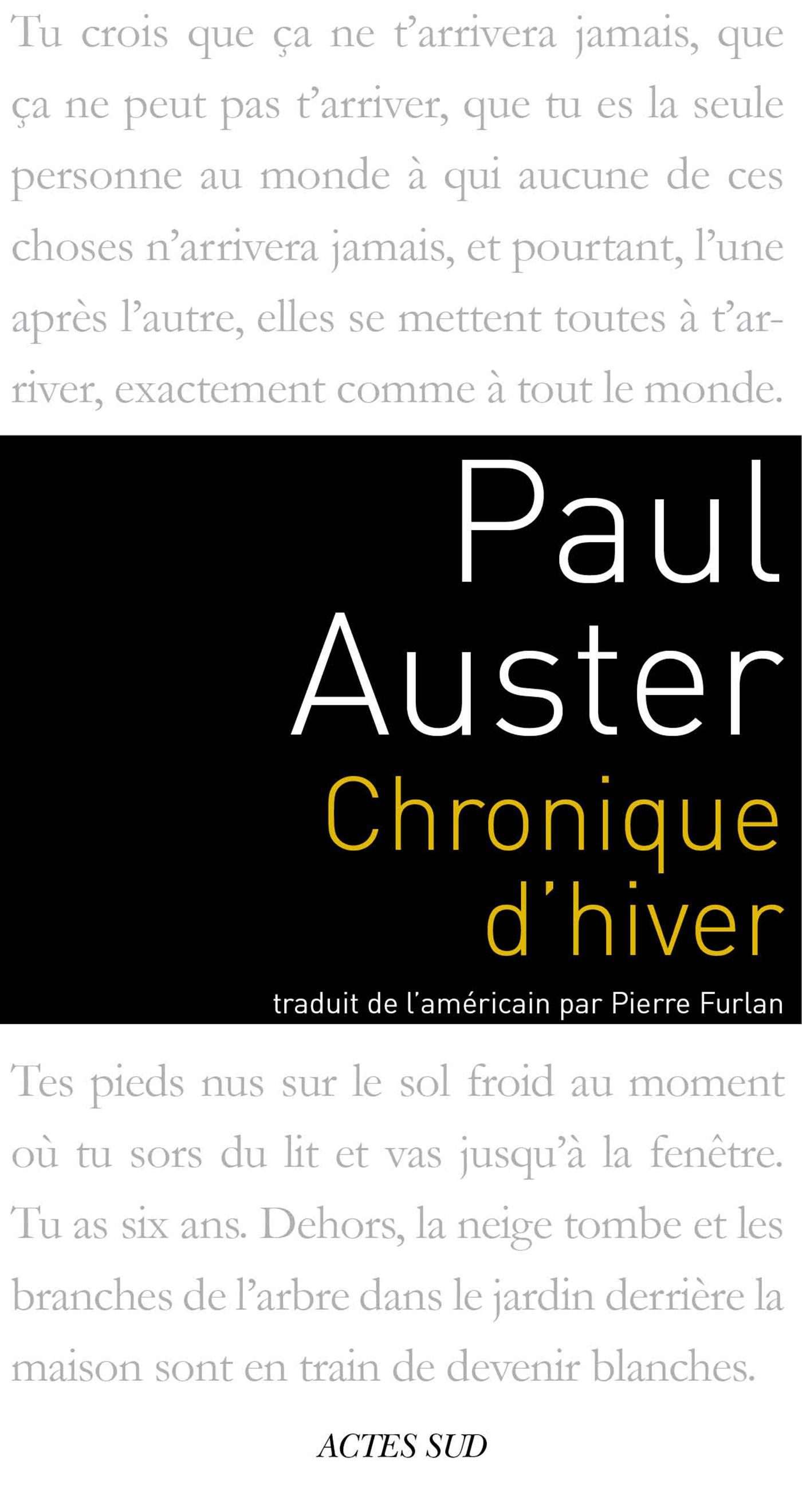 Chronique d'hiver | Auster, Paul
