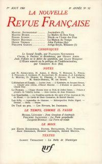 La Nouvelle Revue Française N' 92 (Aoűt 1960)