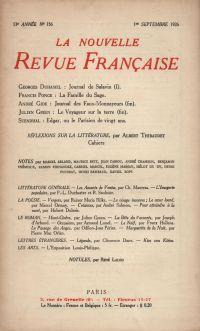 La Nouvelle Revue Française N' 156 (Septembre 1926)