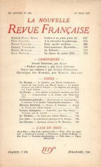 La Nouvelle Revue Française N° 284 (Mai 1937)