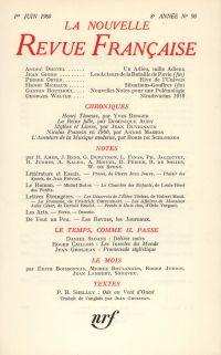 La Nouvelle Revue Française N' 90 (Juin 1960)