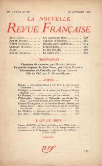 La Nouvelle Revue Française N° 301 (Octobre 1938)