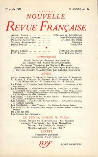 La Nouvelle Nouvelle Revue Française N' 54 (Juin 1957)
