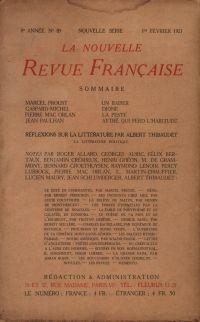 La Nouvelle Revue Française N' 89 (Février 1921)