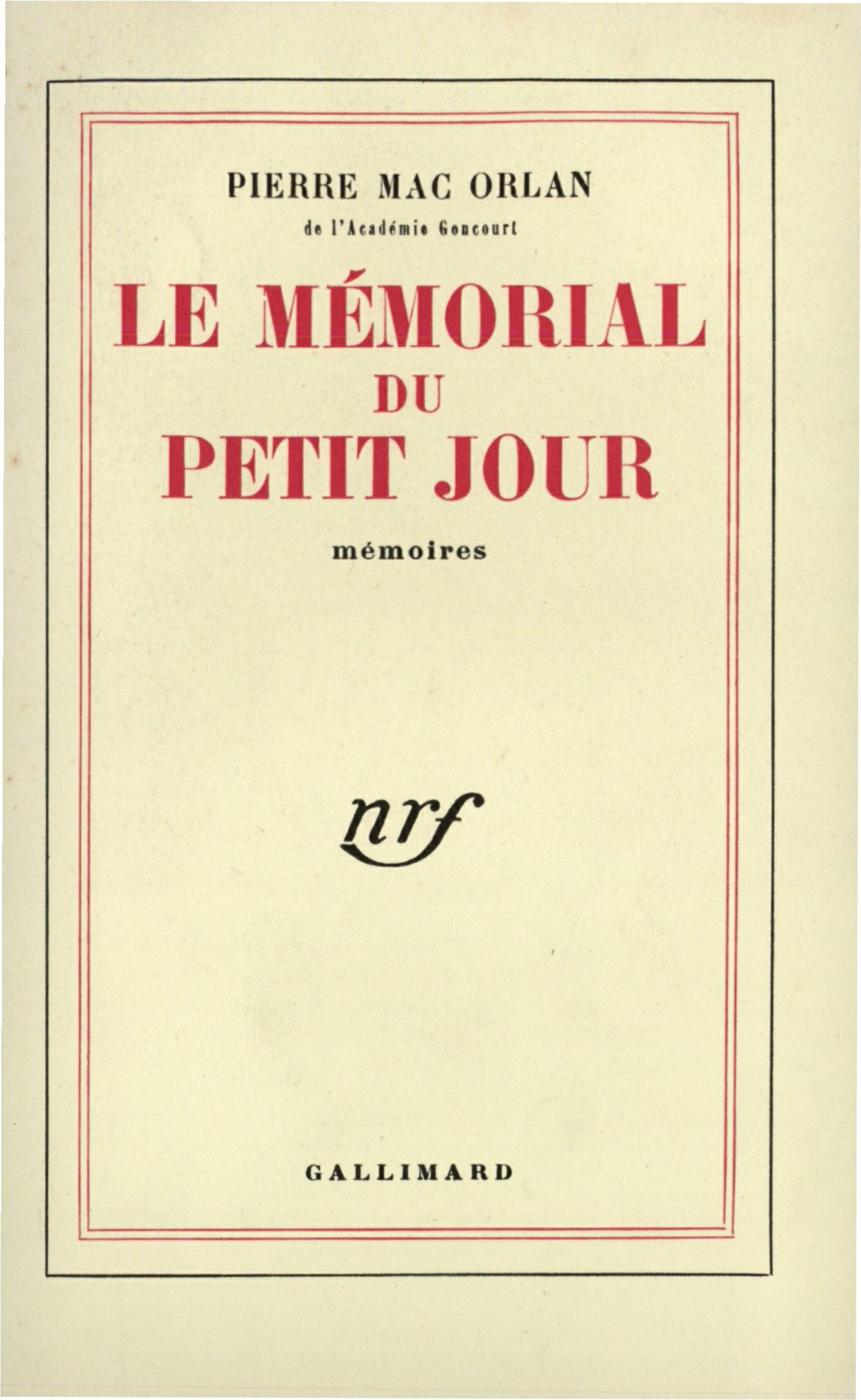 Le Mémorial du petit jour
